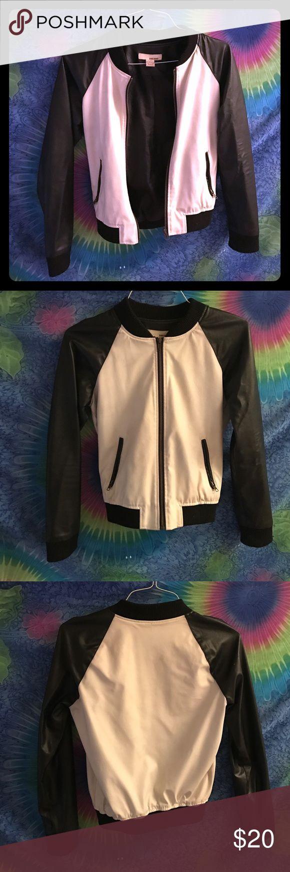 Black and White Leather Bomber Jacket Leather bomber jacket with ribbed trims. Sans Souci Jackets & Coats Utility Jackets