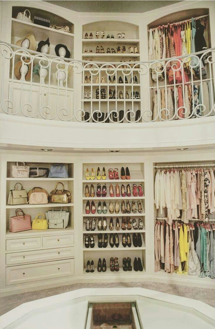 two story closet room with a balcony. WOW. OVER THE TOP, yet pretty amazing!