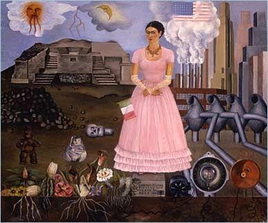 Autorretrato en la frontera entre México y Estados Unidos  Frida Kahlo, 1930 Diego Rivera le comisionan varios murales en los Estados Unidos, así la pareja empaca sus pertenencias y se van al norte. Luego de cuatro años, Diego se encontraba contento en tierra norteamericana pero, Frida extrañaba su tierra y se sentía miserable. Esta experiencia fue motivo de inspiración para su pintura Autorretrato en la frontera entre México y Estados Unidos.