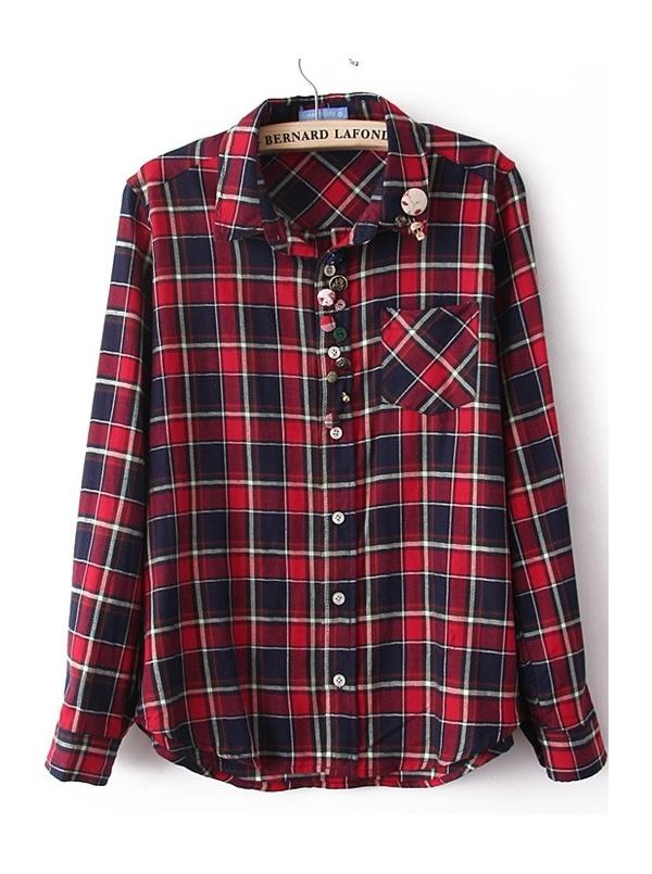 kermesinus long sleeve check turn-down neck cotton shirt -