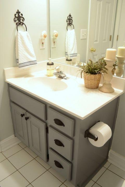 Farmhouse style bathroom gray painted cabinet