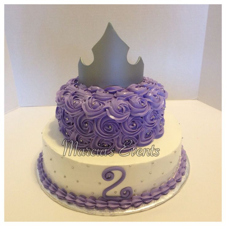 Sofia The First birthday cake, silver crown, purple rosettes