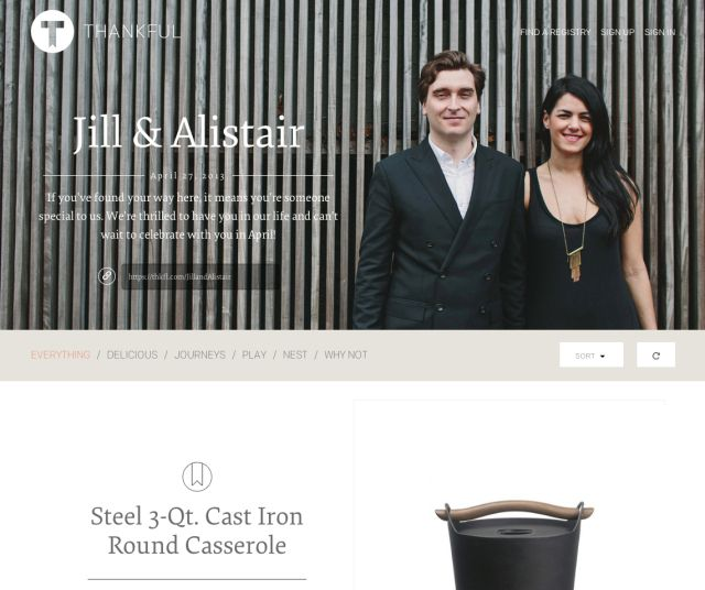 Thankful Registry is a #wedding gift registry for thoughtful couples