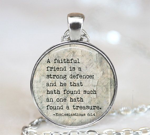 "Friendship bible verse Necklace, ""A faithful friend is a strong defence..."",Scripture Jewelry, Religious friendship gift, Religious Jewelry"