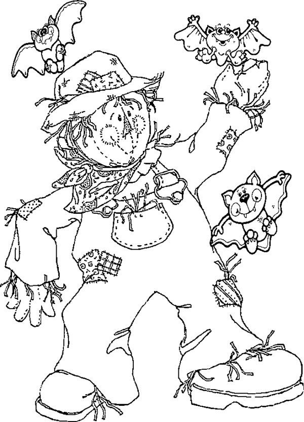 scarecrow with bats coloring page