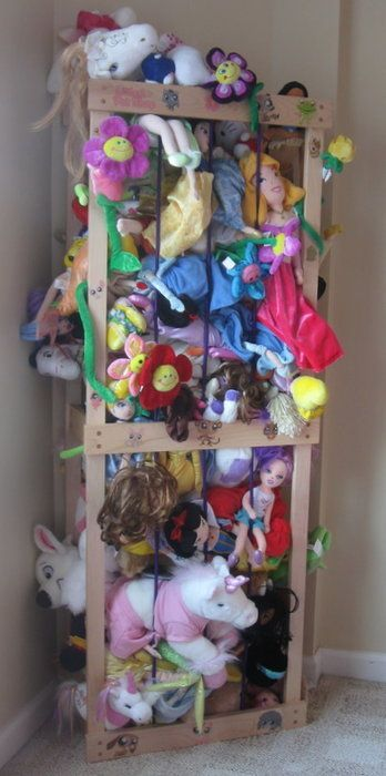 """This guy built his own """"zoo"""" stuffed animal storage. He gives the dimensions of his daughter's zoo and explains how he put it together."""