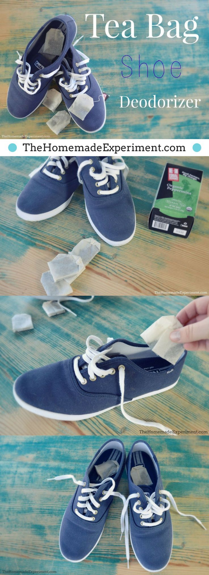 Here's how to use tea bags as a simple #homemade #DIY shoe deodorizer. @homemadeexp visit thehomemadeexperiment.com/homemade-tea-bag-shoe-deodorizer