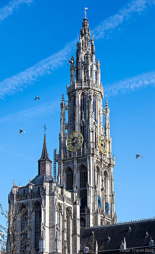 This is the Antwerp Cathedral located in Antwerp, Belgium. Antwerp is home to a diverse and unique set of architecture. Structures such as the Steen Castle and the Brabo Fontein, Peter Paul Rubnes, famous artist, resided in Antwerp and his house is now a museum there.