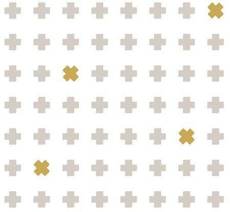 Behang Wallpower Cross - Stone en okergeel