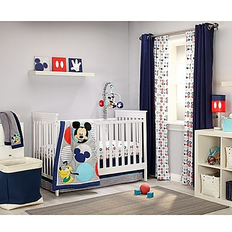 Create a classic nursery for your little one with Disney's iconic Mickey's Best Buddies Crib Bedding Collection featuring colorful, graphic prints, Mickey Mouse emblems, and Mickey and Pluto.