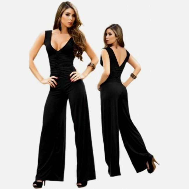 Sexy Black V-Neck Sleeveless Halter Jumpsuit $59  double V-cut figure flattering shirred bodice and flowing full-length legs with straight hemline  #fashion #women #jumpsuit #meinstyle