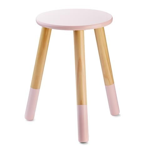 Dipped Wooden Stool - Pink
