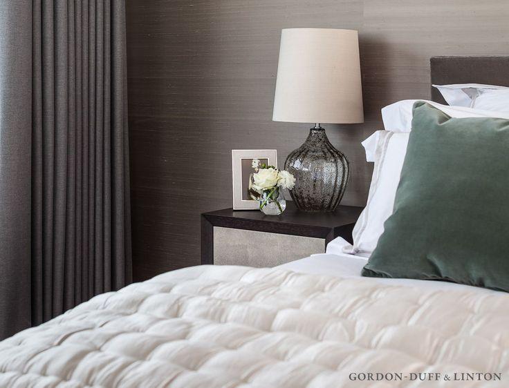 Luxury silk wallpaper in master bedroom.