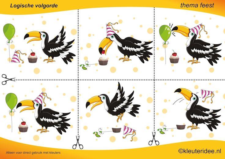 Leg de plaatjes van de vogel in logische volgorde , juf Petra van kleuteridee , thema feest / preschool sequence free printable.