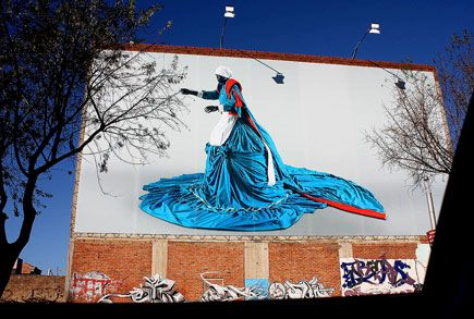Sophie in Johannesburg - Mary Sibande. More than nineteen buildings in Johannesburg have been draped in large pictures of a three dimensional Victorian maid titled Sophie, created by South African artist Mary Sibande.