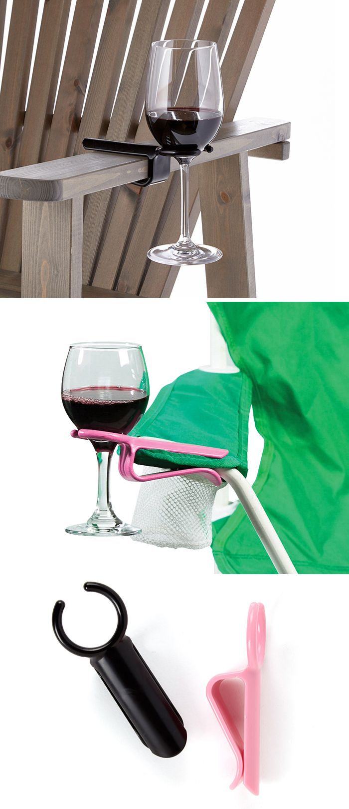 Clip on wine holder hook - fits on any chair. Brilliant! #product_design