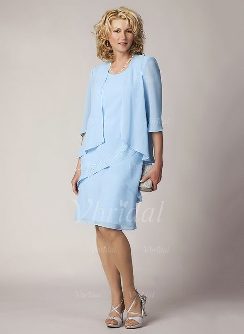 Mother of the Bride Dresses - $90.00 - A-Line/Princess Scoop Neck Knee-Length Chiffon Mother of the Bride Dress With Cascading Ruffles (0085091390)
