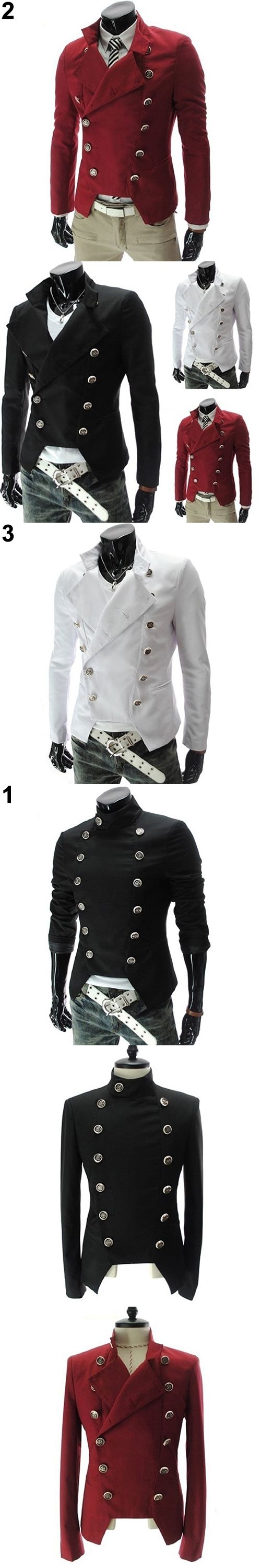 New Arrival Men's Fashion European Style Double-breasted Casual Lapel Slim Suit Blazer Coat