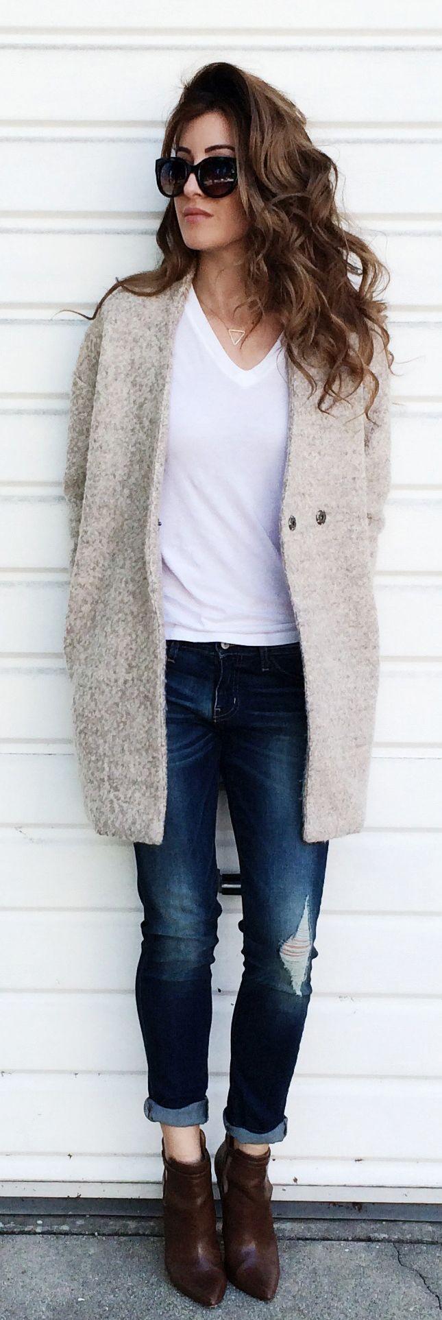#street #style casual / coat + tee + denim @wachabuy