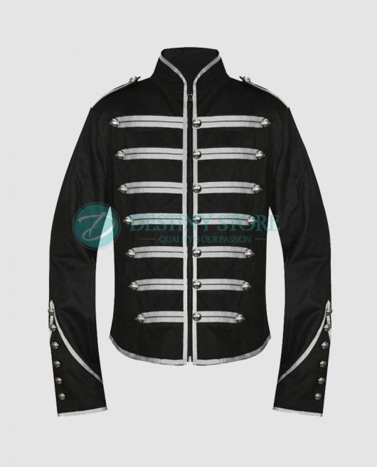 Gothic Military Parade Drummer Jacket Fully lined unisex Gothic Military  Jacket comes with featuring front zip