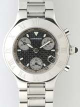最高級カルティエスーパーコピー カルティエ時計コピー Cartier ヴァンティアン W10184U2 クロノスカフ ホワイトラバーブレス ホワイト