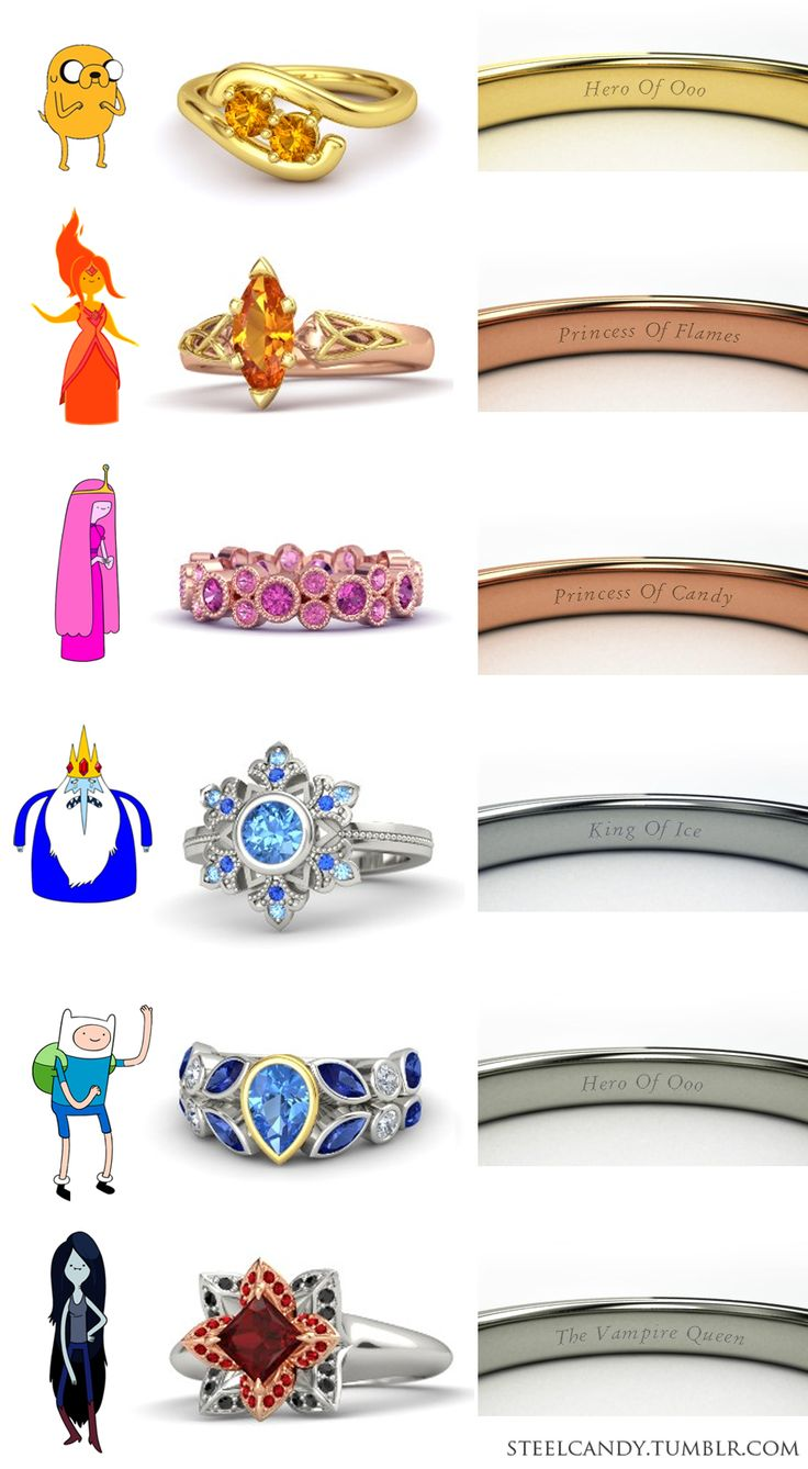 Adventure Time Engagement Rings Jake the DogFlame PrincessPrincess BubblegumIce KingFinn the HumanMarceline (Made by Steelcandy on Gemvara.com)