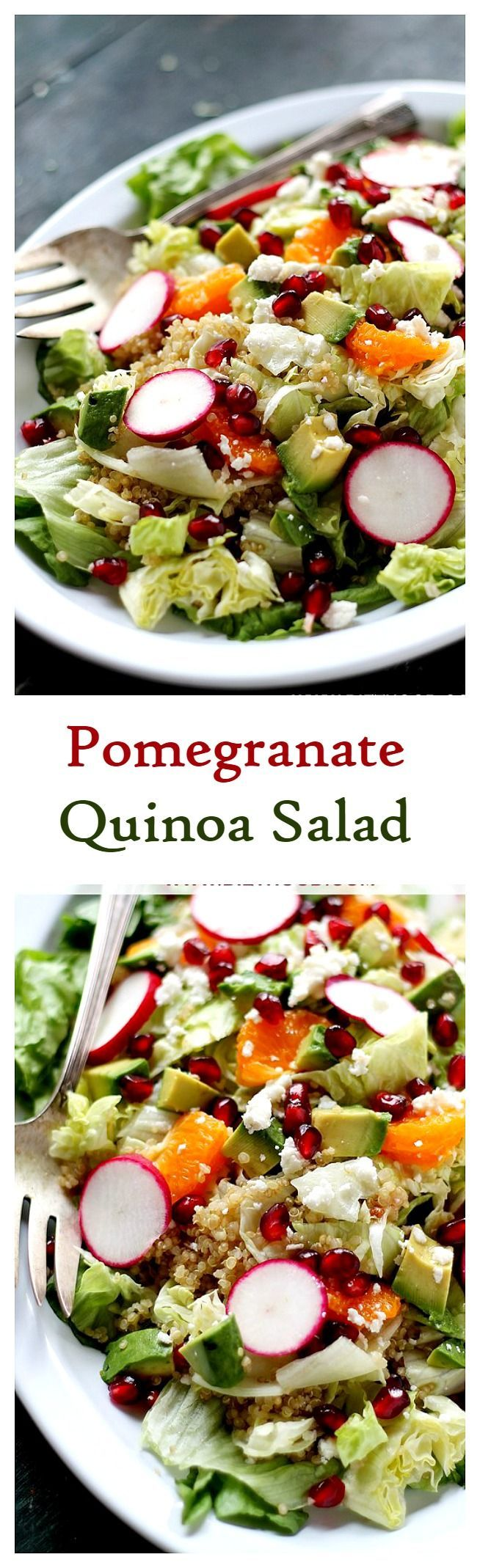 Beautiful and festive salad made with Quinoa, pomegranate seeds, tangerine segments, and topped with a delicious homemade Cranberry-Pomegranate Vinaigrette.