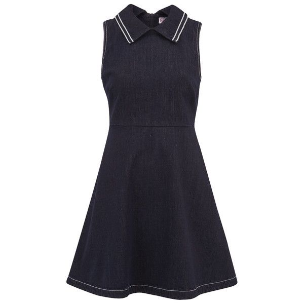 REDValentino Women's Collar Denim Dress - Blue ($415) ❤ liked on Polyvore featuring dresses, vestidos, short dresses, blue, blue collared dress, red valentino, short blue dresses and red valentino dress