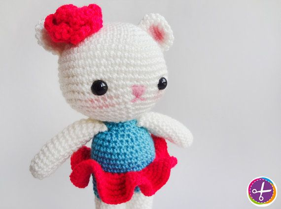 Neon Fuchsia Miss Bear Amigurumi  Ready to Ship by HinaPalitah