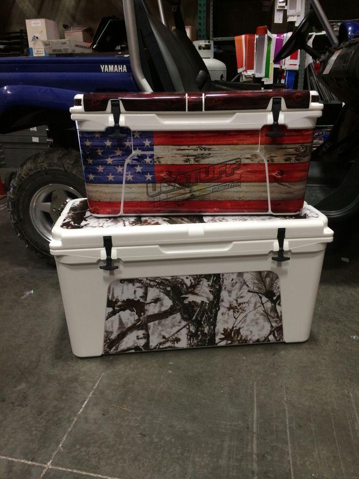 Yeti 65 and Yeti 110 rocking USATUFF cooler ice chest kit. USA Flag and Tundra Camo