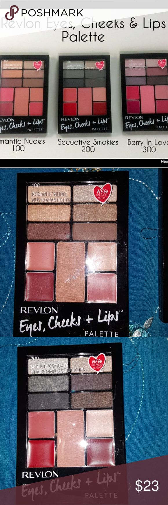 Revlon eyes lips and cheek palettes all 3 Revlon's Eyes, Cheeks + Lips Palette is an all-in-one palette that delivers an on-trend full face look with universally flattering shades. Perfect for on-the-go use, this kit includes Revlon's best-selling eye shadow, lipstick and blush. Each palette includes 6 eye shadows  1 blush  2 lipsticks Super Lustrous formula poured 2 lip glosses Mini applicators included (dual ended eye shadow applicator, lip brush blush brush New sealed never opened…