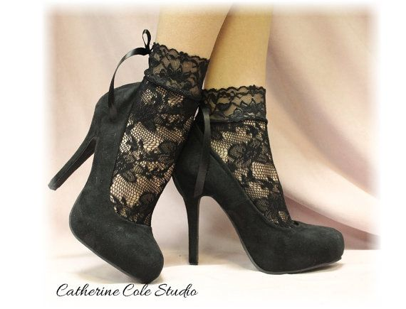 BLACK  Baby doll Lace socks for heels w/bow by CatherineColeStudio, $12.90