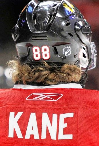 "Whenever Hockey Boy sees 88 from the back he says ""Kaner has curls out his helmet just like me!"" It always makes me laugh!"