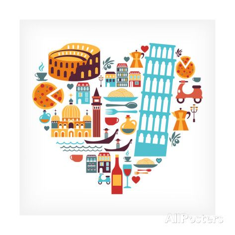 Italy Love - Heart Print by Marish at AllPosters.com