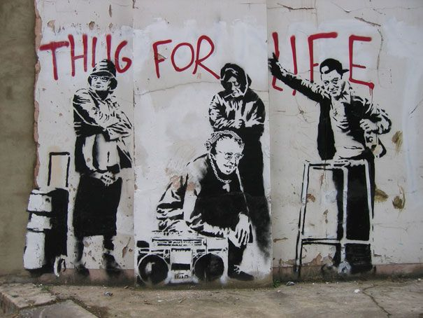 Google Image Result for http://artfulhelix.files.wordpress.com/2012/02/banksy-graffiti-street-art-thug-for-life.jpg