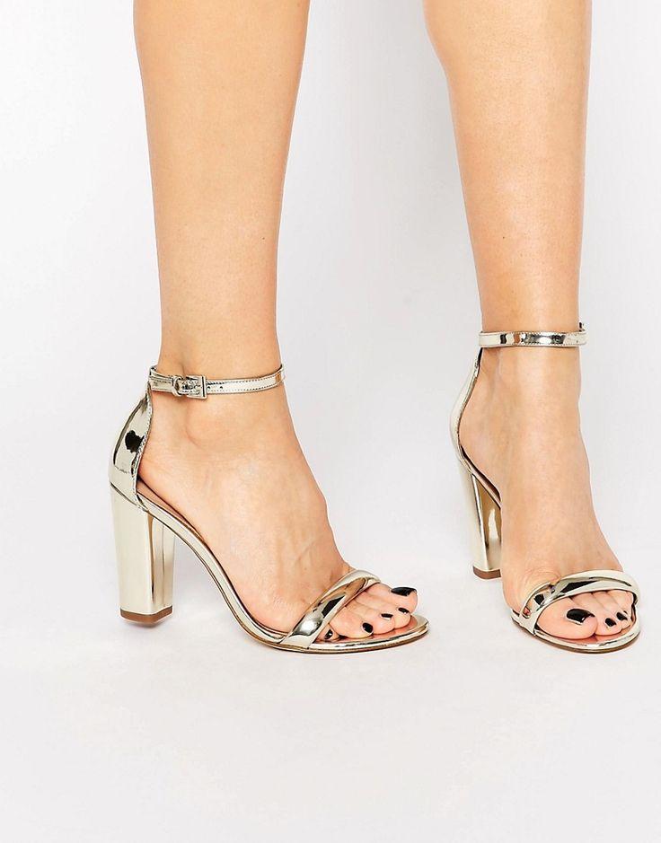 Image 1 ofALDO Cicci Gold Block Mid Heel Sandals