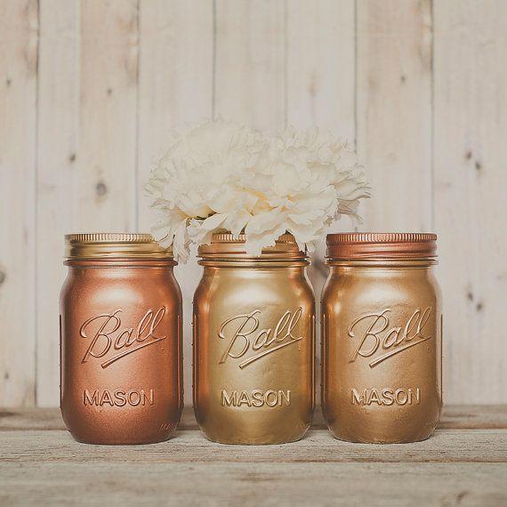 Painted mason jar vase. Centerpiece. copper, gold, bronze. Guestbook pen jar. Wedding centerpiece, new years decor, party centerpiece.