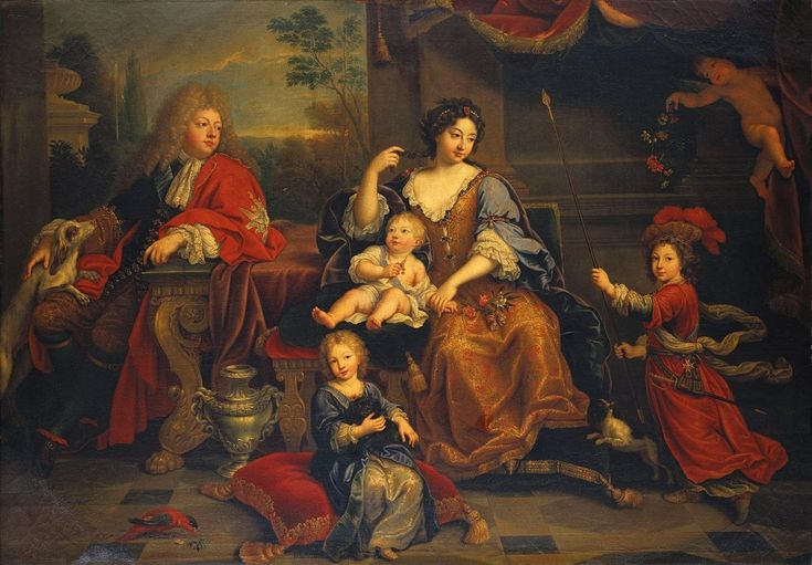 Louis of France, Grand Dauphin, and his wife Maria Anna Victoria of Bavaria with their three sons- Louis, Petit Dauphin, Philippe (later King Felipe V of Spain) and Charles, Duke of Berry by Pierre Mignard (1687)