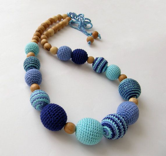 Blue teething necklace - nursing necklace - Breastfeeding Necklace - Crochet Necklace for mom and child - Gift for Babywearing Moms