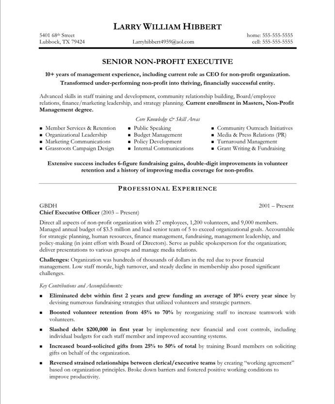 Community Volunteer Sample Resume Non Profit Executive Resume Samples U0026  Examples  Professional Resume Example