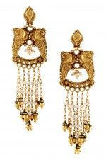 Tribebyamrapali-Silver Gold Plated Peacock Multi Pearl Strand Earrings