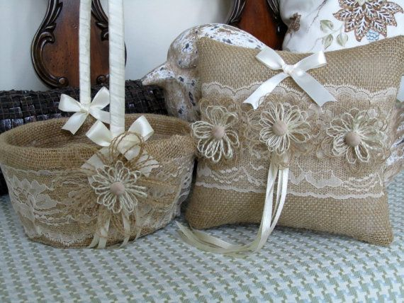 Flower Girl Baskets And Matching Ring Bearer Pillows : Burlap ring bearer pillow flower girl basket with ivory
