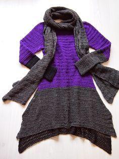 VMSomⒶ KOPPA: Ylhäältä alas virkattu violetti mekko - loppuosa