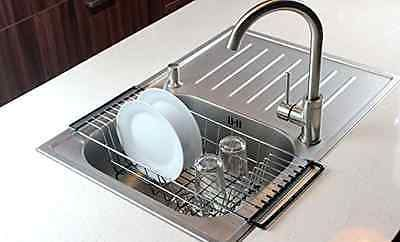 Over-The-Sink Kitchen Dish Drainer Rack, Durable Chrome-plated Steel (Black) New