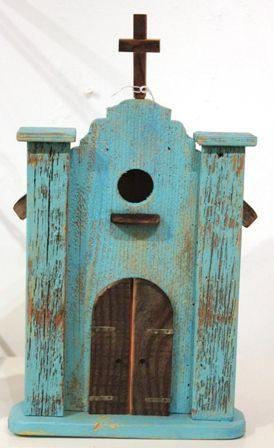 BIrdhouse - Brown & Turquoise Church (AD6)