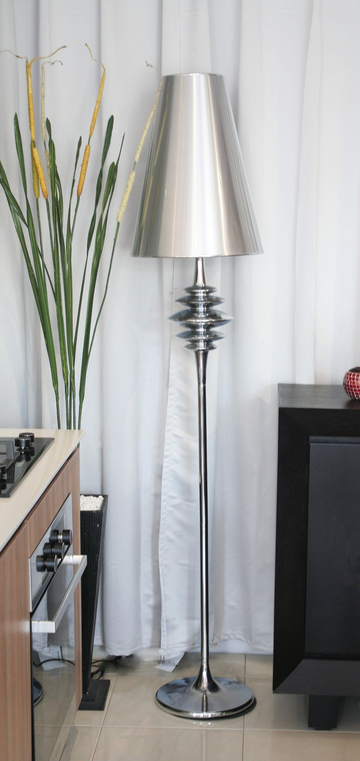 This floor lamp can accommodate itself to the tightest of spaces, while offering you a full spectrum of light from brilliantly bright to soft glow. This lamp radiates class with steel and chrome finishing. So much class, in fact, that you might want two to bookend your couch or fill a couple of corners. Size			:H 180cm Product Details:steel Price		:Rp 3.680.000  | www.levardi.com
