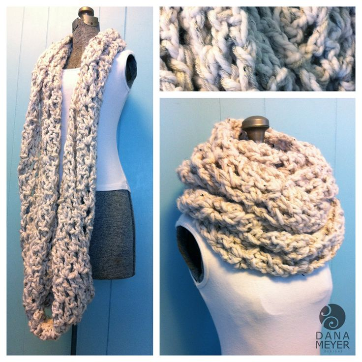 Chunky Crochet Infinity Scarf Pattern. I love the look of the double thread.