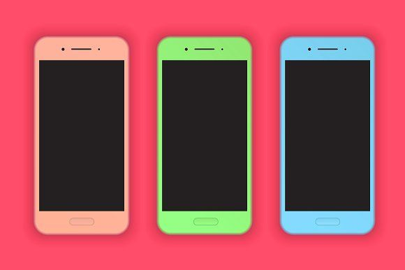 Modern colorful smart phones mock-up by Dimitri Design Shop on @creativemarket