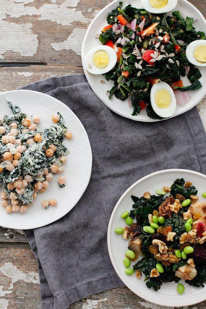 Massaged Kale Salad, three ways | Nutrition Stripped, cobb kale salad, vegan cesar kale salad, superfood kale salad