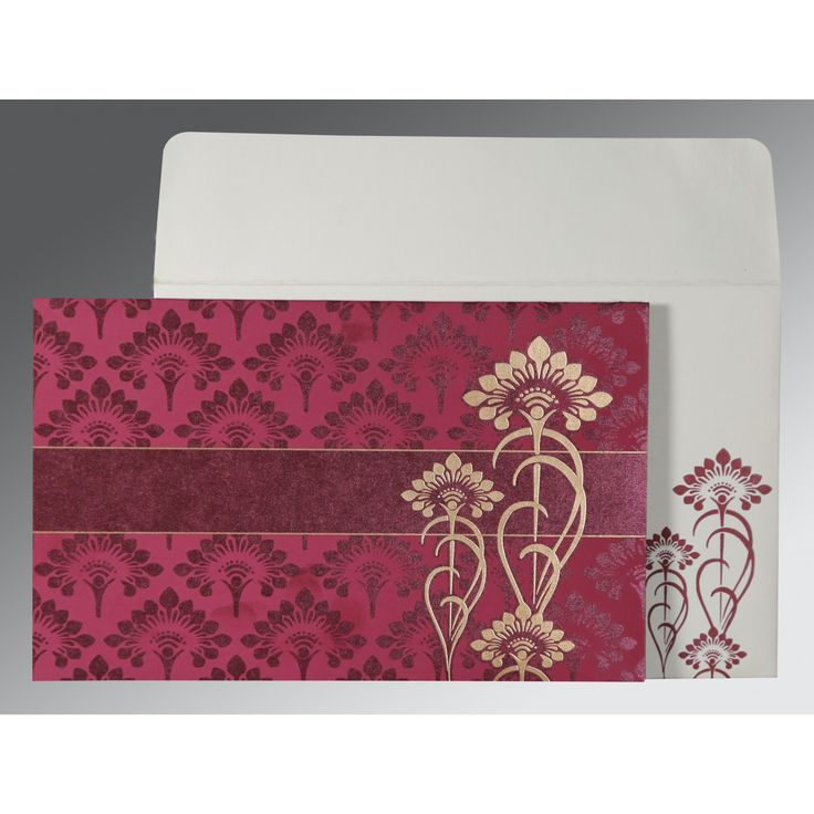 indian wedding cards wordings in hindi%0A Gorgeous design Pink colored Hindu Wedding Card